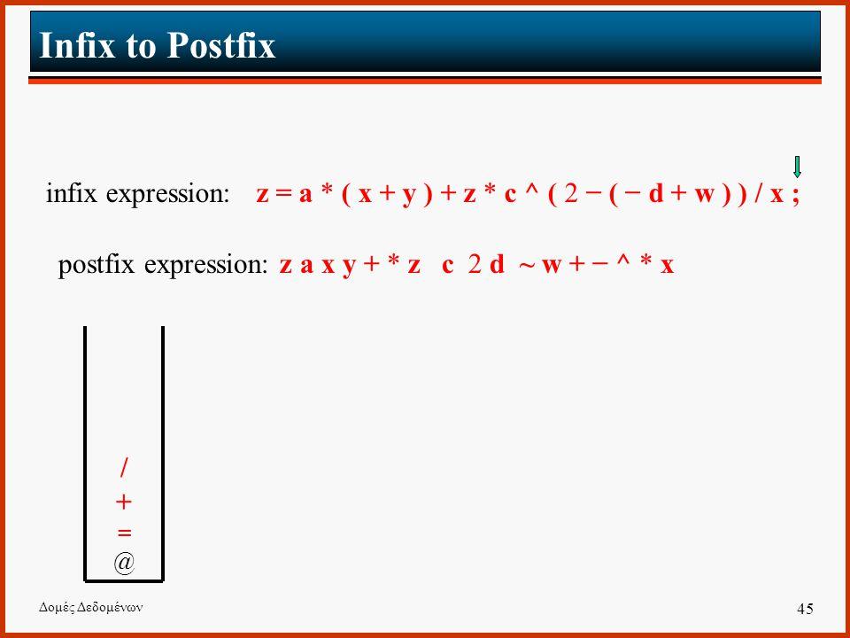 Δομές Δεδομένων 45 Infix to Postfix infix expression: z = a * ( x + y ) + z * c ^ ( 2 − ( − d + w ) ) / x ; postfix expression: z a x y + * z c 2 d ~ w + − ^ * x /+=@ /+=@