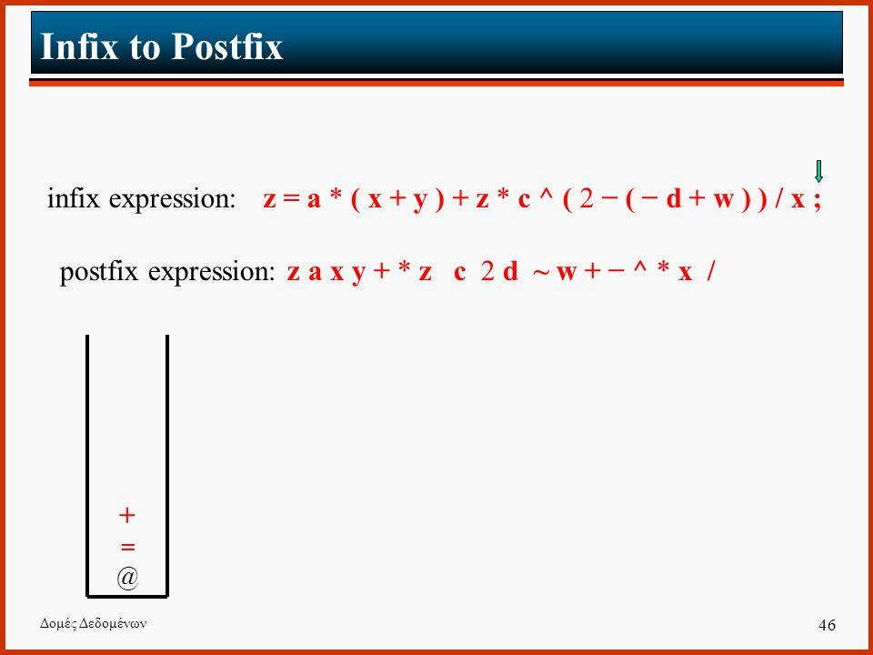 Δομές Δεδομένων 46 Infix to Postfix infix expression: z = a * ( x + y ) + z * c ^ ( 2 − ( − d + w ) ) / x ; postfix expression: z a x y + * z c 2 d ~ w + − ^ * x / +=@ +=@