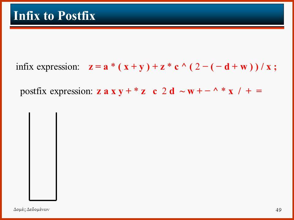 Δομές Δεδομένων 49 Infix to Postfix infix expression: z = a * ( x + y ) + z * c ^ ( 2 − ( − d + w ) ) / x ; postfix expression: z a x y + * z c 2 d ~ w + − ^ * x / + =