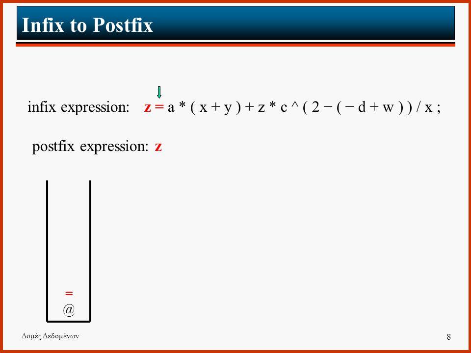 Δομές Δεδομένων 8 Infix to Postfix infix expression: z = a * ( x + y ) + z * c ^ ( 2 − ( − d + w ) ) / x ; postfix expression: z =@=@