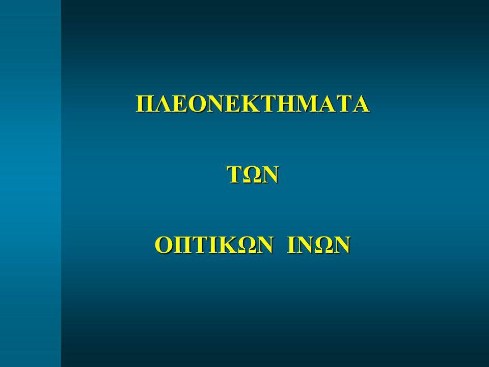 ΕΙΣΑΓΩΓΗ ΦΩΤΕΙΝΗΣ ΑΚΤΙΝΑΣ ΣΤΗΝ ΟΠΤΙΚΗ ΙΝΑ Numerical Aperture (NA) = n 1 sinθ c (τυπικές τιμές 0.17 – 0.25)