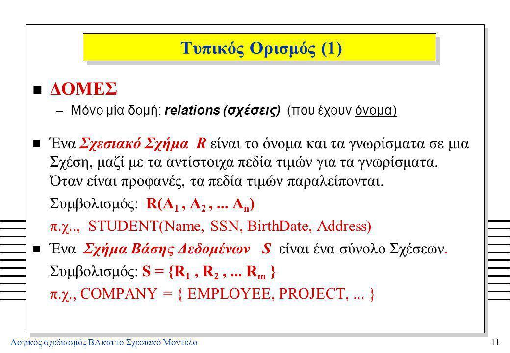 Λογικός σχεδιασμός ΒΔ και το Σχεσιακό Μοντέλο11 Τυπικός Ορισμός (1) n ΔΟΜΕΣ –Μόνο μία δομή: relations (σχέσεις) (που έχουν όνομα) n Ένα Σχεσιακό Σχήμα