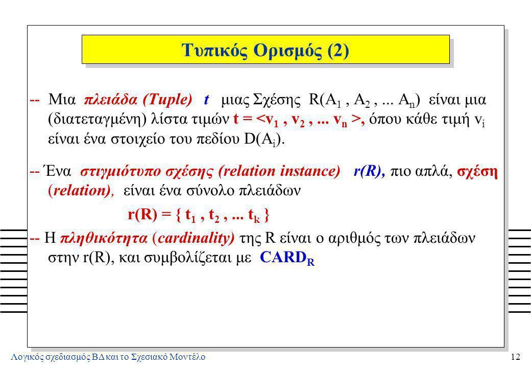 Λογικός σχεδιασμός ΒΔ και το Σχεσιακό Μοντέλο12 Τυπικός Ορισμός (2) -- Μια πλειάδα (Tuple) t μιας Σχέσης R(A 1, A 2,... A n ) είναι μια (διατεταγμένη)