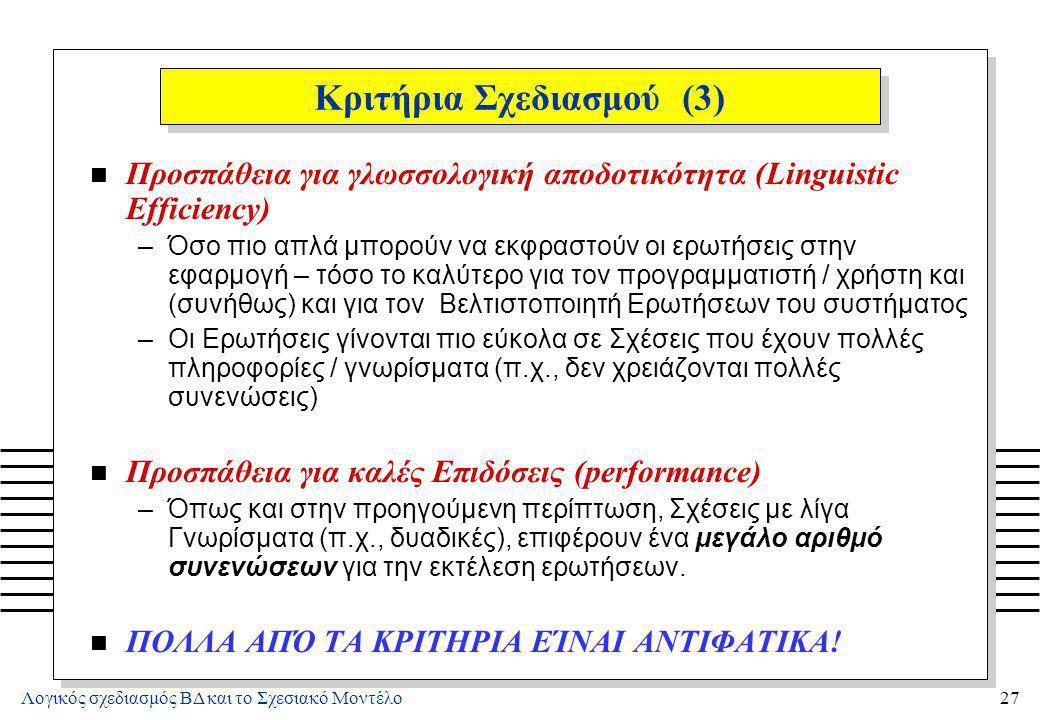 Λογικός σχεδιασμός ΒΔ και το Σχεσιακό Μοντέλο27 Κριτήρια Σχεδιασμού (3) n Προσπάθεια για γλωσσολογική αποδοτικότητα (Linguistic Efficiency) –Όσο πιο α