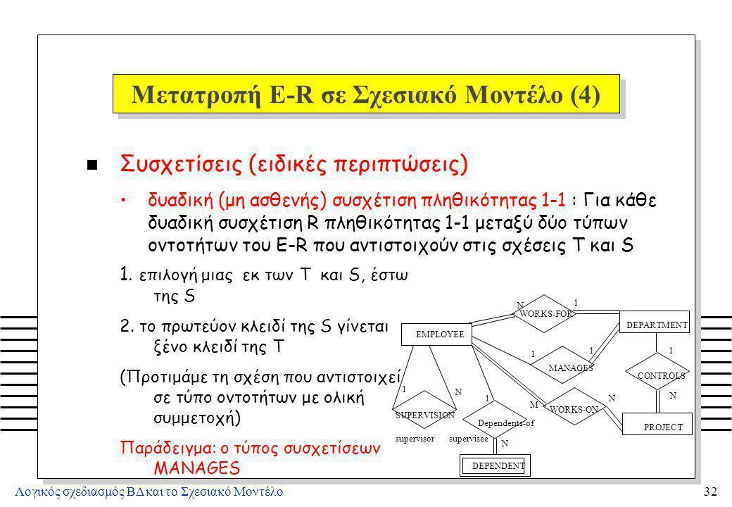 Λογικός σχεδιασμός ΒΔ και το Σχεσιακό Μοντέλο32 Μετατροπή E-R σε Σχεσιακό Μοντέλο (4) n Συσχετίσεις (ειδικές περιπτώσεις) δυαδική (μη ασθενής) συσχέτι