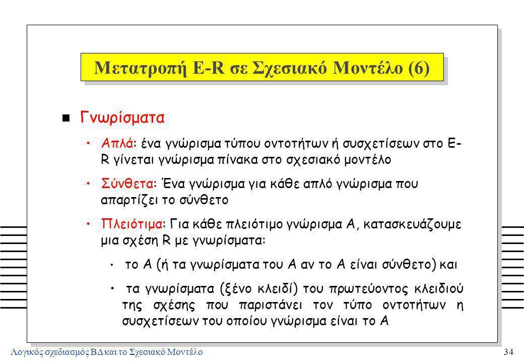 Λογικός σχεδιασμός ΒΔ και το Σχεσιακό Μοντέλο34 Μετατροπή E-R σε Σχεσιακό Μοντέλο (6) n Γνωρίσματα Απλά: ένα γνώρισμα τύπου οντοτήτων ή συσχετίσεων στ