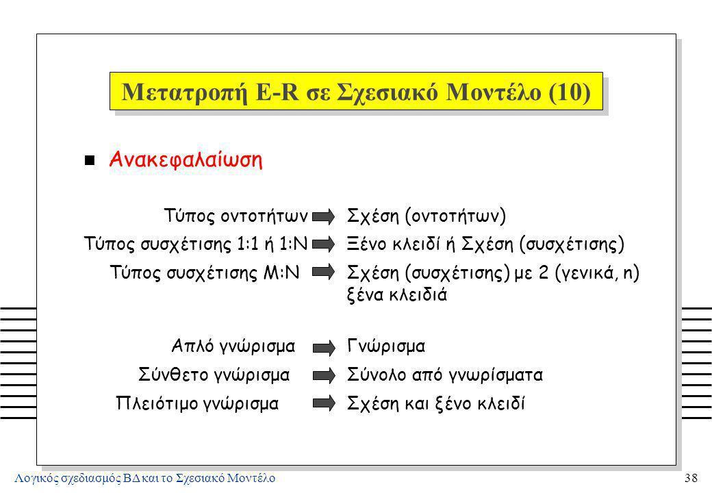 Λογικός σχεδιασμός ΒΔ και το Σχεσιακό Μοντέλο38 Μετατροπή E-R σε Σχεσιακό Μοντέλο (10) n Ανακεφαλαίωση Τύπος οντοτήτωνΣχέση (οντοτήτων) Τύπος συσχέτισ