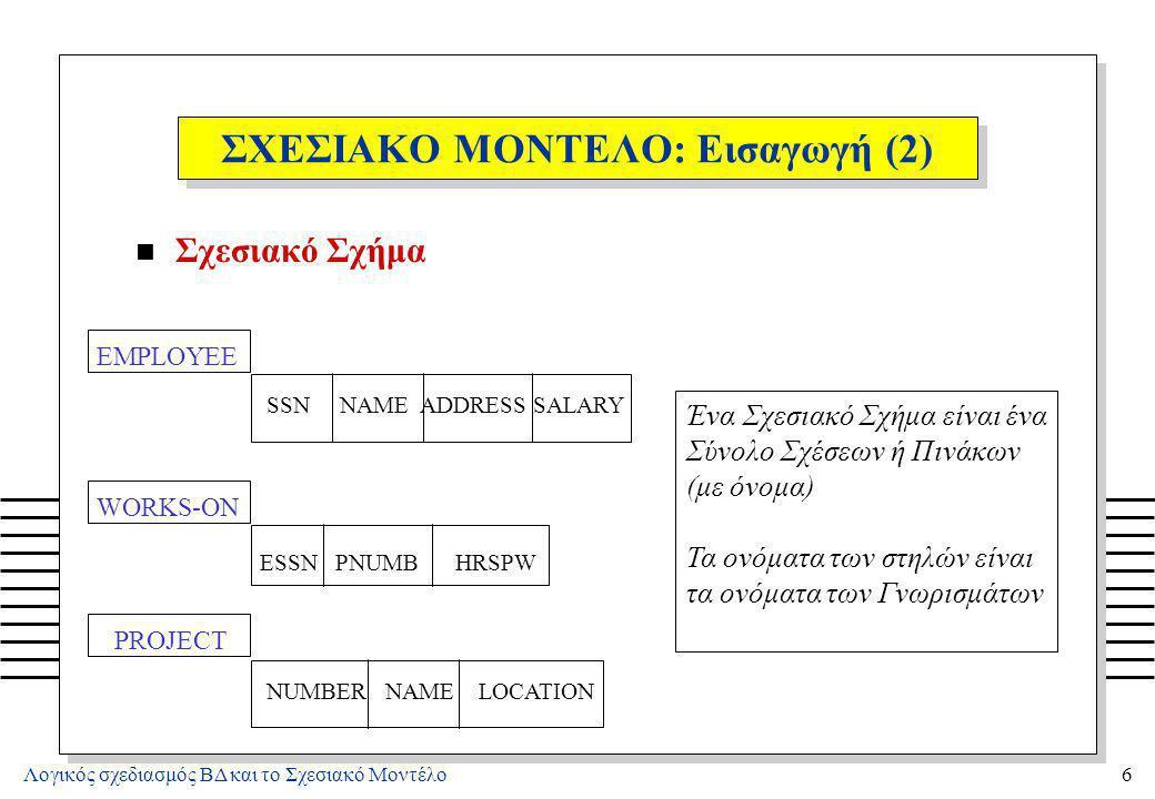 Λογικός σχεδιασμός ΒΔ και το Σχεσιακό Μοντέλο6 ΣΧΕΣΙΑΚΟ ΜΟΝΤΕΛΟ: Εισαγωγή (2) n Σχεσιακό Σχήμα PROJECT NUMBER NAME LOCATION WORKS-ON ESSN PNUMB HRSPW