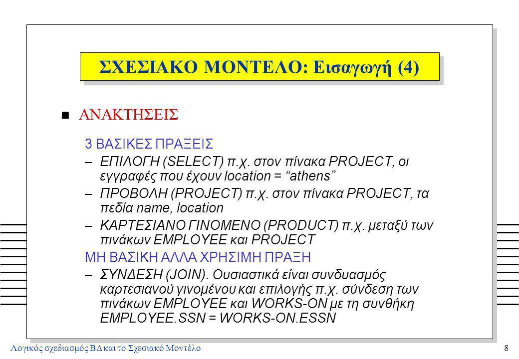 Λογικός σχεδιασμός ΒΔ και το Σχεσιακό Μοντέλο9 ΣΧΕΣΙΑΚΟ ΜΟΝΤΕΛΟ: Εισαγωγή (5) n ΕΝΗΜΕΡΩΣΕΙΣ (ΤΡΟΠΟΠΟΙΗΣΕΙΣ) INSERT: Εισαγωγή πληροφοριών για ένα νέο έργο - Εισαγωγή μιας n-πλειάδας στη Σχέση PROJECT DELETE: Διαγραφή του γεγονότος ότι ο Υπάλληλος E3 εργάζεται στο έργο P4 - Διαγραφή της n-πλειάδας (e2, p4, 20) από την Σχέση WORKS-ON MODIFY: Το έργο P2 μεταφέρθηκε από την Αθήνα στην Πάτρα - Επέλεξε την n-πλειάδα (p2, rty, athens) από το PROJECT, και άλλαξε την τιμή athens σε patras