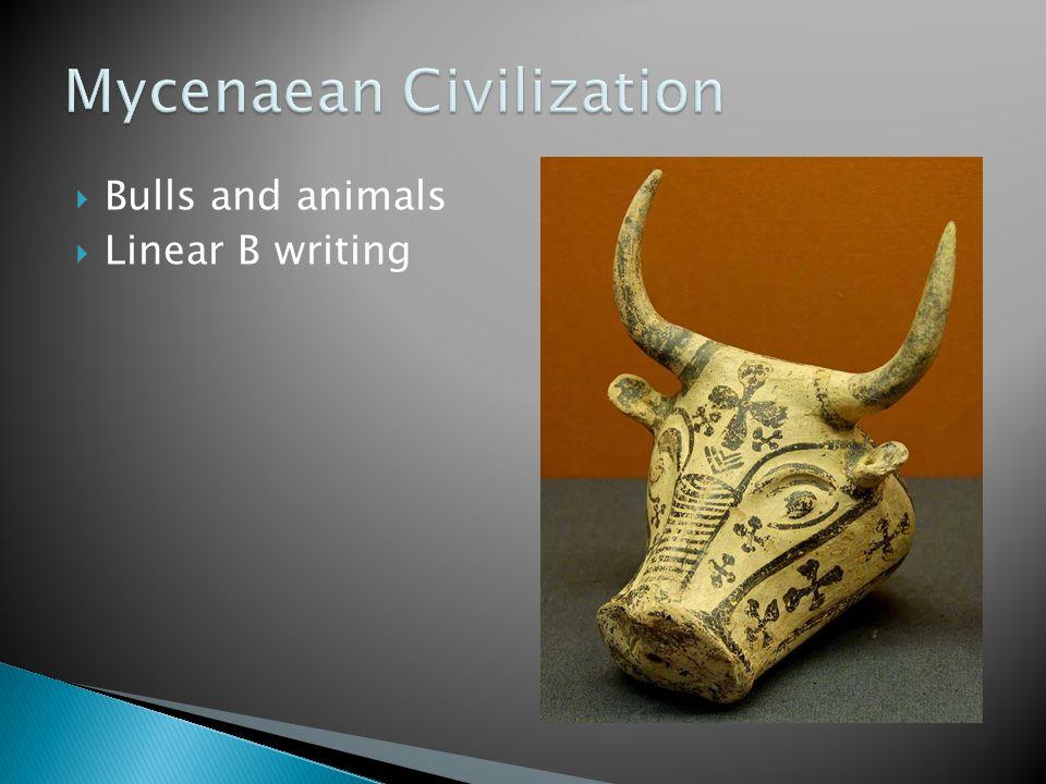  Bulls and animals  Linear B writing