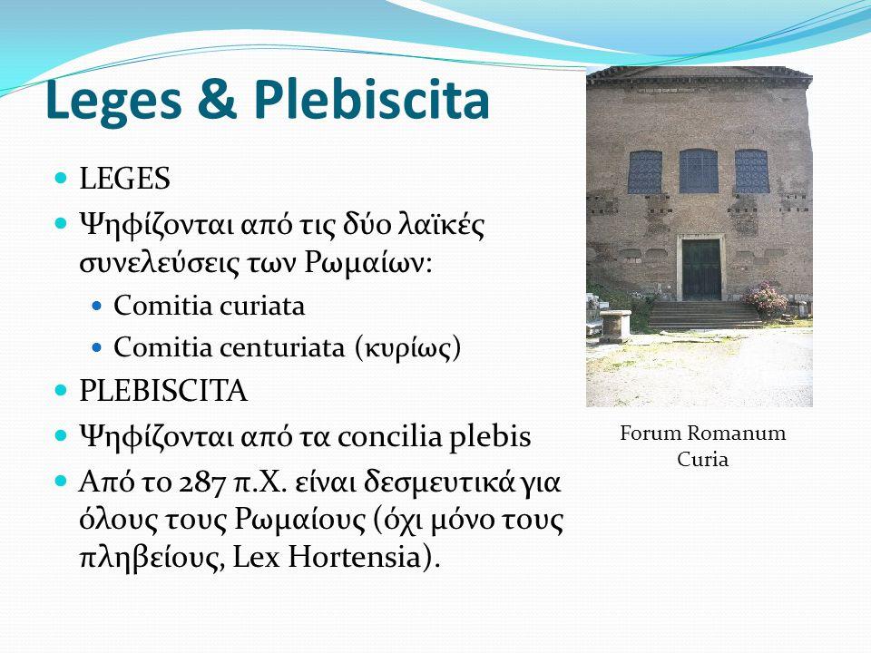 Leges & Plebiscita LEGES Ψηφίζονται από τις δύο λαϊκές συνελεύσεις των Ρωμαίων: Comitia curiata Comitia centuriata (κυρίως) PLEBISCITA Ψηφίζονται από