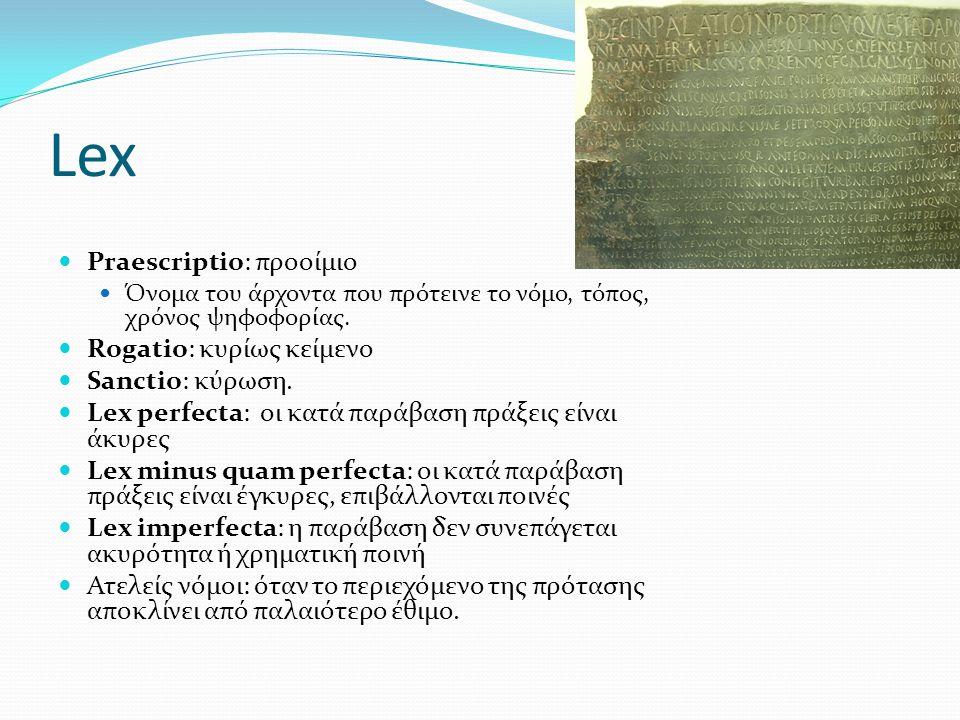 Lex Praescriptio: προοίμιο Όνομα του άρχοντα που πρότεινε το νόμο, τόπος, χρόνος ψηφοφορίας. Rogatio: κυρίως κείμενο Sanctio: κύρωση. Lex perfecta: οι
