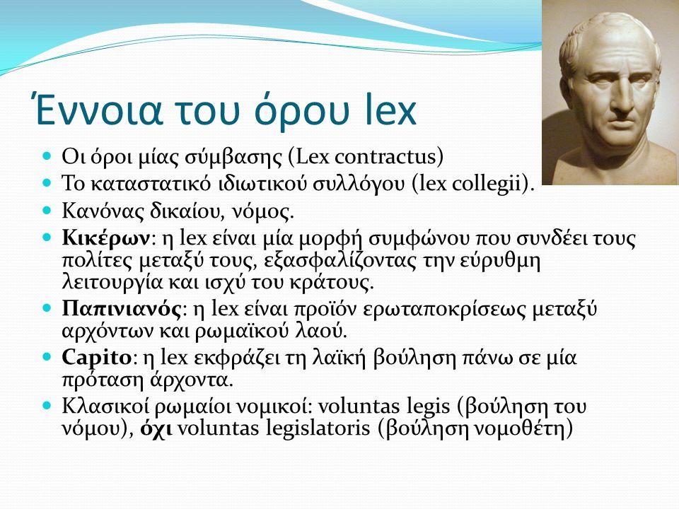 Έννοια του όρου lex Oι όροι μίας σύμβασης (Lex contractus) Το καταστατικό ιδιωτικού συλλόγου (lex collegii). Kανόνας δικαίου, νόμος. Κικέρων: η lex εί