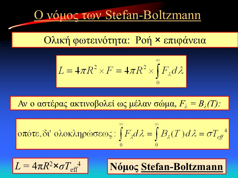Ο νόμος των Stefan-Boltzmann Ολική φωτεινότητα: Ροή × επιφάνεια Αν ο αστέρας ακτινοβολεί ως μέλαν σώμα, F λ = Β λ (Τ): L = 4πR 2 ×σΤ eff 4 Νόμος Stefa