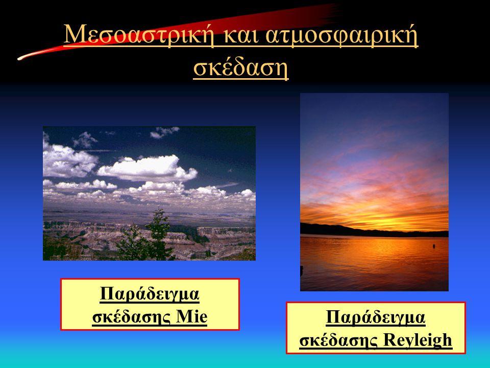Μεσοαστρική και ατμοσφαιρική σκέδαση Παράδειγμα σκέδασης Reyleigh Παράδειγμα σκέδασης Mie