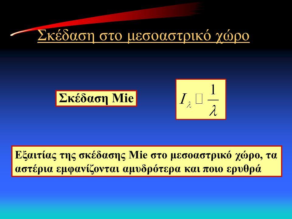 Σκέδαση στο μεσοαστρικό χώρο Εξαιτίας της σκέδασης Mie στο μεσοαστρικό χώρο, τα αστέρια εμφανίζονται αμυδρότερα και ποιο ερυθρά Σκέδαση Mie