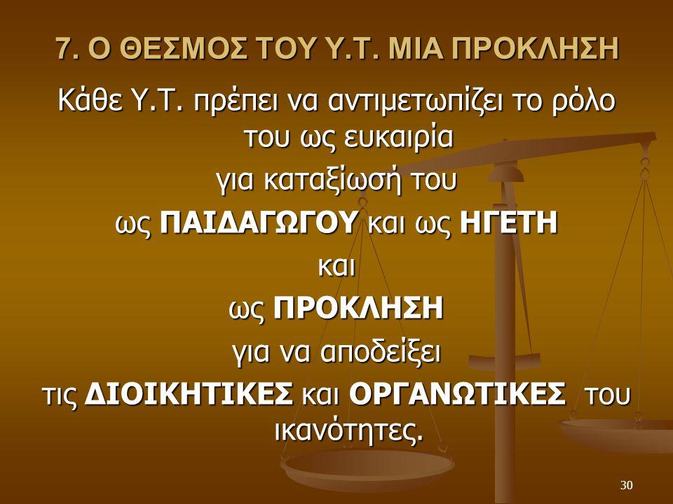 30 7. Ο ΘΕΣΜΟΣ ΤΟΥ Υ.Τ. ΜΙΑ ΠΡΟΚΛΗΣΗ Κάθε Υ.Τ. πρέπει να αντιμετωπίζει το ρόλο του ως ευκαιρία για καταξίωσή του ως ΠΑΙΔΑΓΩΓΟΥ και ως ΗΓΕΤΗ και ως ΠΡΟ