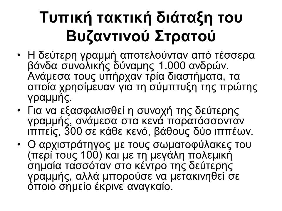 Τυπική τακτική διάταξη του Βυζαντινού Στρατού Η δεύτερη γραμμή αποτελούνταν από τέσσερα βάνδα συνολικής δύναμης 1.000 ανδρών. Ανάμεσα τους υπήρχαν τρί