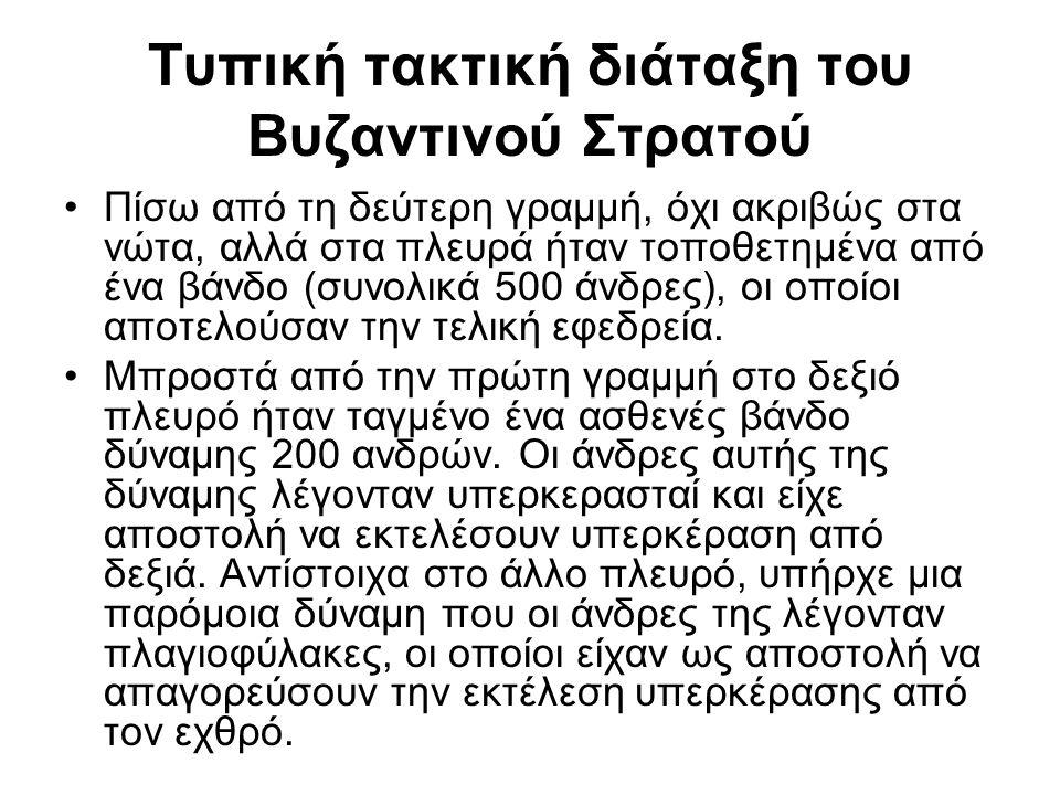 Τυπική τακτική διάταξη του Βυζαντινού Στρατού Πίσω από τη δεύτερη γραμμή, όχι ακριβώς στα νώτα, αλλά στα πλευρά ήταν τοποθετημένα από ένα βάνδο (συνολ