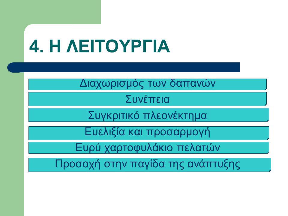 4. Η ΛΕΙΤΟΥΡΓΙΑ Διαχωρισμός των δαπανών Συνέπεια Συγκριτικό πλεονέκτημα Ευελιξία και προσαρμογή Ευρύ χαρτοφυλάκιο πελατών Προσοχή στην παγίδα της ανάπ