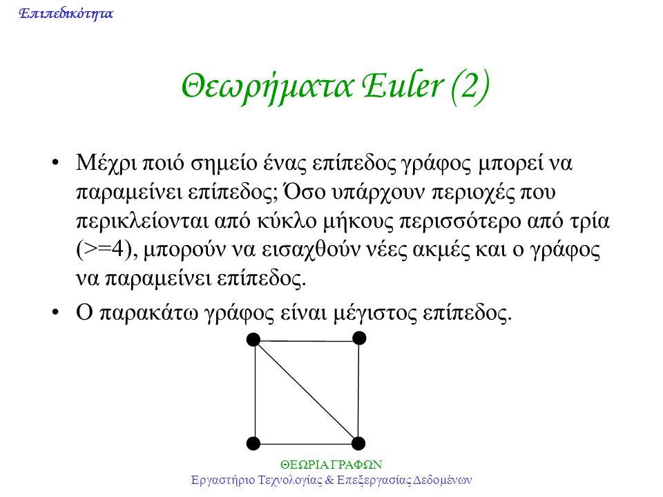 Επιπεδικότητα ΘΕΩΡΙΑ ΓΡΑΦΩΝ Εργαστήριο Τεχνολογίας & Επεξεργασίας Δεδομένων Θεωρήματα Euler (2) Μέχρι ποιό σημείο ένας επίπεδος γράφος μπορεί να παραμ