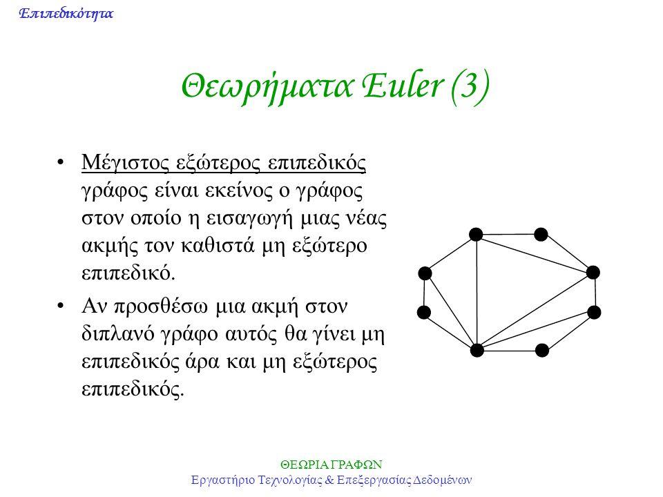 Επιπεδικότητα ΘΕΩΡΙΑ ΓΡΑΦΩΝ Εργαστήριο Τεχνολογίας & Επεξεργασίας Δεδομένων Θεωρήματα Euler (3) Μέγιστος εξώτερος επιπεδικός γράφος είναι εκείνος ο γρ