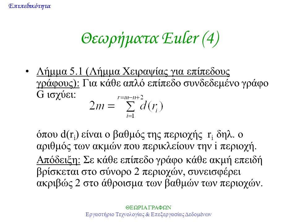 Επιπεδικότητα ΘΕΩΡΙΑ ΓΡΑΦΩΝ Εργαστήριο Τεχνολογίας & Επεξεργασίας Δεδομένων Θεωρήματα Euler (4) Λήμμα 5.1 (Λήμμα Χειραψίας για επίπεδους γράφους): Για