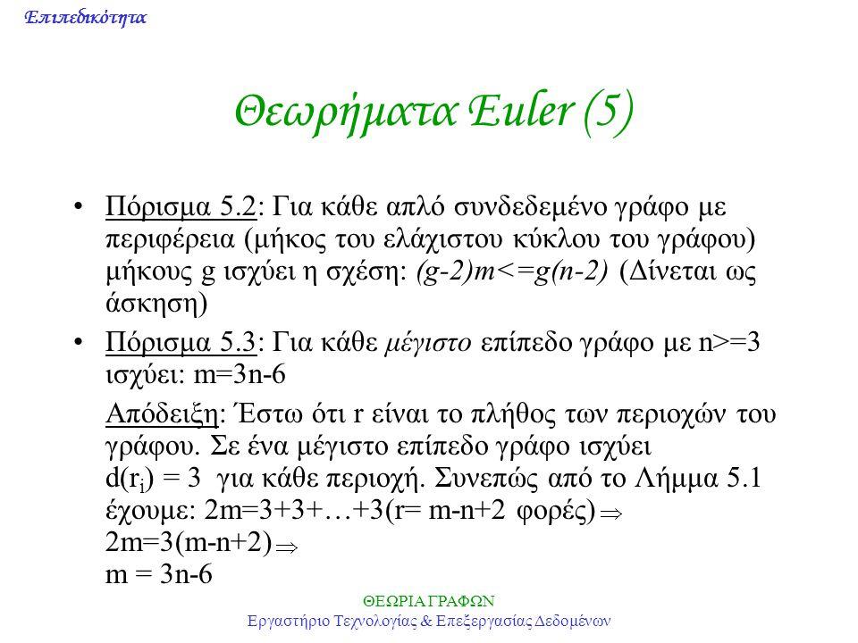 Επιπεδικότητα ΘΕΩΡΙΑ ΓΡΑΦΩΝ Εργαστήριο Τεχνολογίας & Επεξεργασίας Δεδομένων Θεωρήματα Euler (5) Πόρισμα 5.2: Για κάθε απλό συνδεδεμένο γράφο με περιφέ