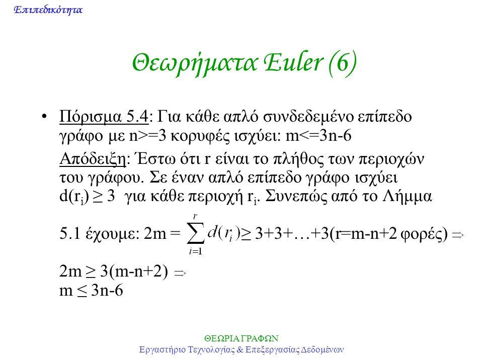 Επιπεδικότητα ΘΕΩΡΙΑ ΓΡΑΦΩΝ Εργαστήριο Τεχνολογίας & Επεξεργασίας Δεδομένων Θεωρήματα Euler (6) Πόρισμα 5.4: Για κάθε απλό συνδεδεμένο επίπεδο γράφο μ
