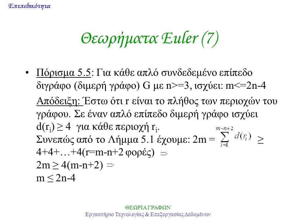 Επιπεδικότητα ΘΕΩΡΙΑ ΓΡΑΦΩΝ Εργαστήριο Τεχνολογίας & Επεξεργασίας Δεδομένων Θεωρήματα Euler (7) Πόρισμα 5.5: Για κάθε απλό συνδεδεμένο επίπεδο διγράφο