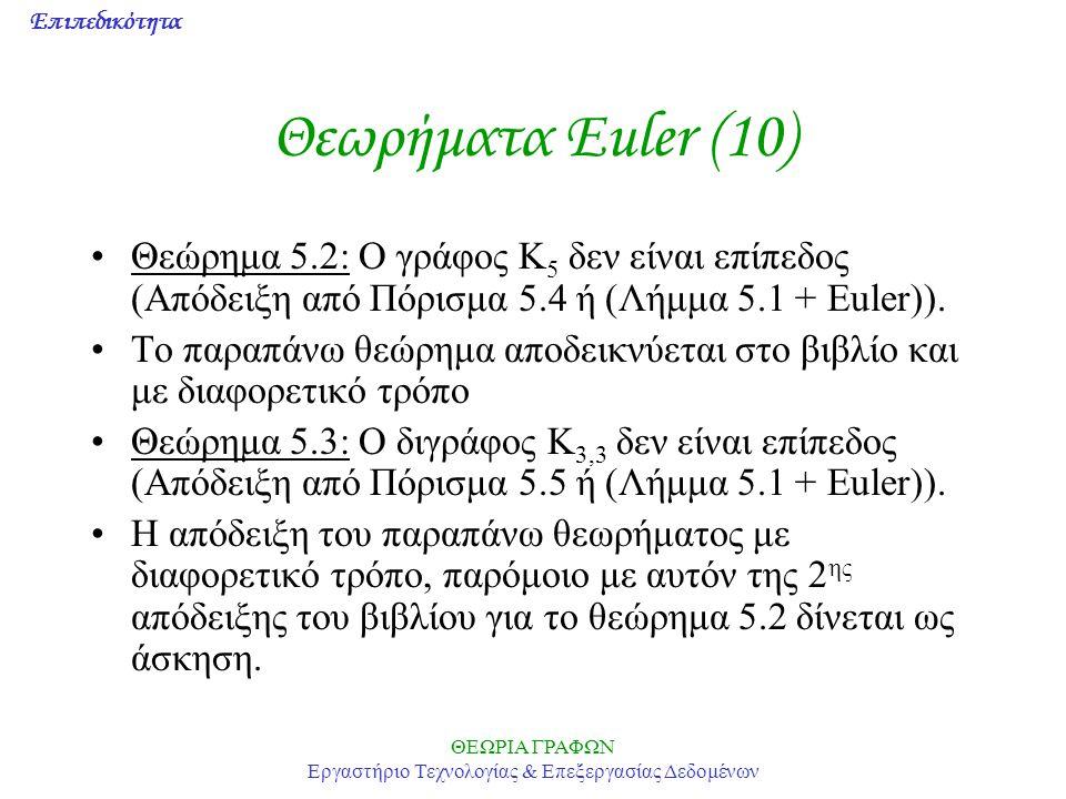 Επιπεδικότητα ΘΕΩΡΙΑ ΓΡΑΦΩΝ Εργαστήριο Τεχνολογίας & Επεξεργασίας Δεδομένων Θεωρήματα Euler (10) Θεώρημα 5.2: Ο γράφος Κ 5 δεν είναι επίπεδος (Απόδειξ