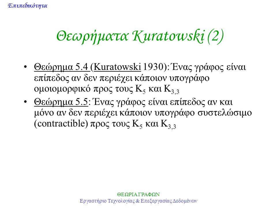 Επιπεδικότητα ΘΕΩΡΙΑ ΓΡΑΦΩΝ Εργαστήριο Τεχνολογίας & Επεξεργασίας Δεδομένων Θεωρήματα Kuratowski (2) Θεώρημα 5.4 (Kuratowski 1930): Ένας γράφος είναι