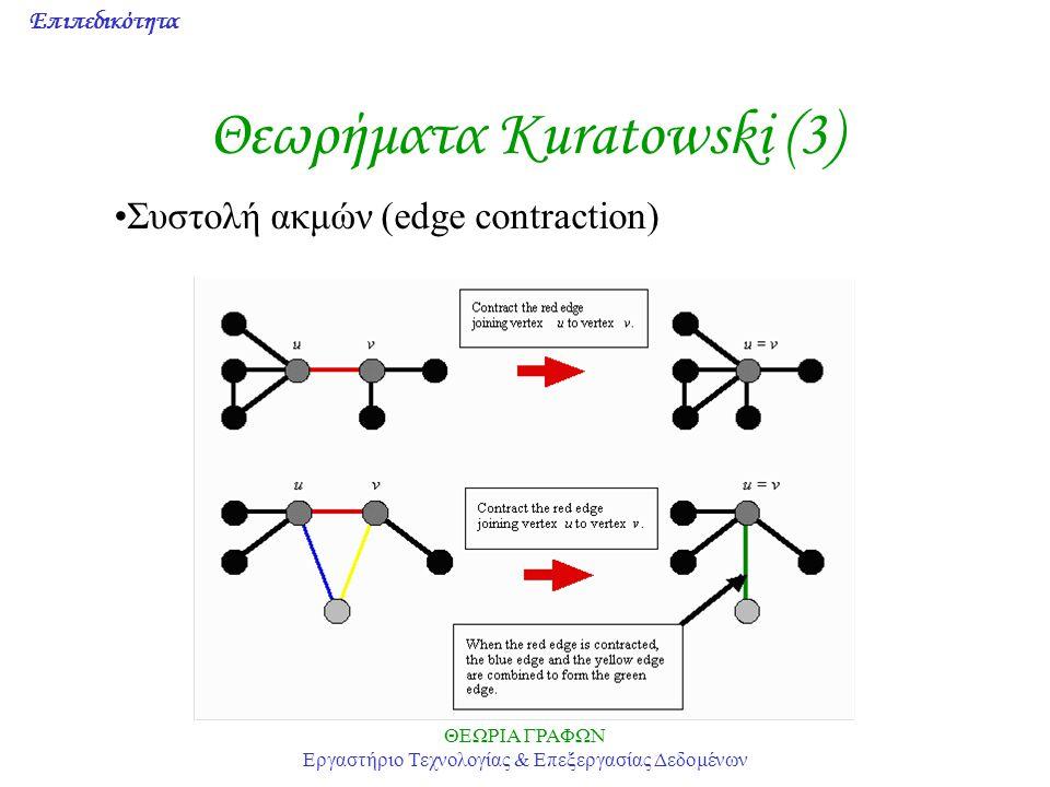 Επιπεδικότητα ΘΕΩΡΙΑ ΓΡΑΦΩΝ Εργαστήριο Τεχνολογίας & Επεξεργασίας Δεδομένων Θεωρήματα Kuratowski (3) Συστολή ακμών (edge contraction)