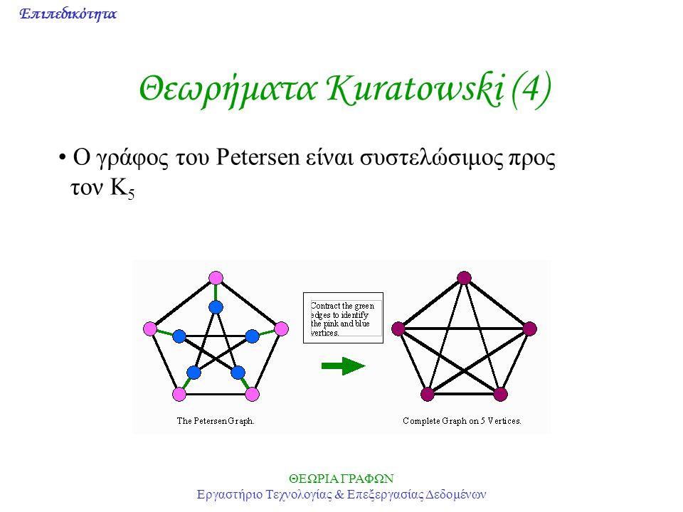 Επιπεδικότητα ΘΕΩΡΙΑ ΓΡΑΦΩΝ Εργαστήριο Τεχνολογίας & Επεξεργασίας Δεδομένων Θεωρήματα Kuratowski (4) Ο γράφος του Petersen είναι συστελώσιμος προς τον