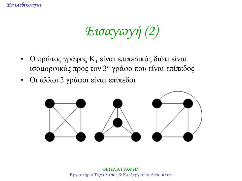 Επιπεδικότητα ΘΕΩΡΙΑ ΓΡΑΦΩΝ Εργαστήριο Τεχνολογίας & Επεξεργασίας Δεδομένων Εισαγωγή (2) O πρώτος γράφος K 4 είναι επιπεδικός διότι είναι ισομορφικός