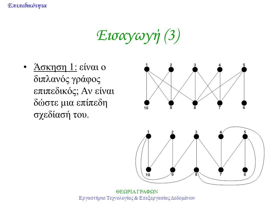 Επιπεδικότητα ΘΕΩΡΙΑ ΓΡΑΦΩΝ Εργαστήριο Τεχνολογίας & Επεξεργασίας Δεδομένων Εισαγωγή (3) Άσκηση 1: είναι ο διπλανός γράφος επιπεδικός; Αν είναι δώστε
