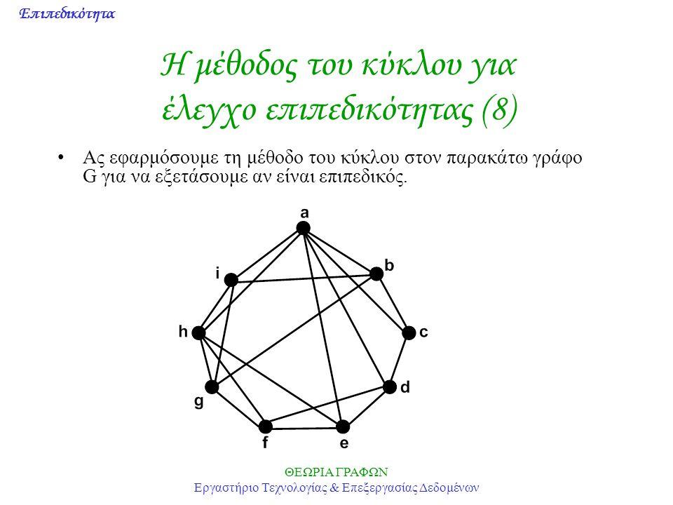 Επιπεδικότητα ΘΕΩΡΙΑ ΓΡΑΦΩΝ Εργαστήριο Τεχνολογίας & Επεξεργασίας Δεδομένων Η μέθοδος του κύκλου για έλεγχο επιπεδικότητας (8) Ας εφαρμόσουμε τη μέθοδ