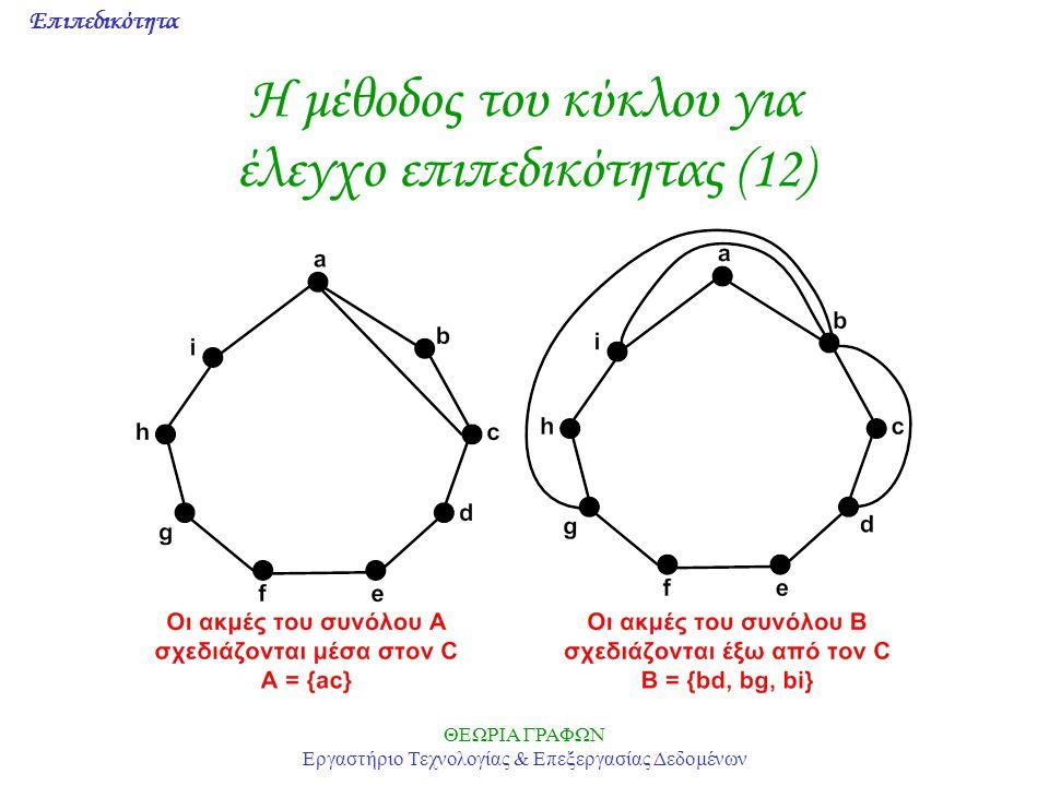 Επιπεδικότητα ΘΕΩΡΙΑ ΓΡΑΦΩΝ Εργαστήριο Τεχνολογίας & Επεξεργασίας Δεδομένων Η μέθοδος του κύκλου για έλεγχο επιπεδικότητας (12)