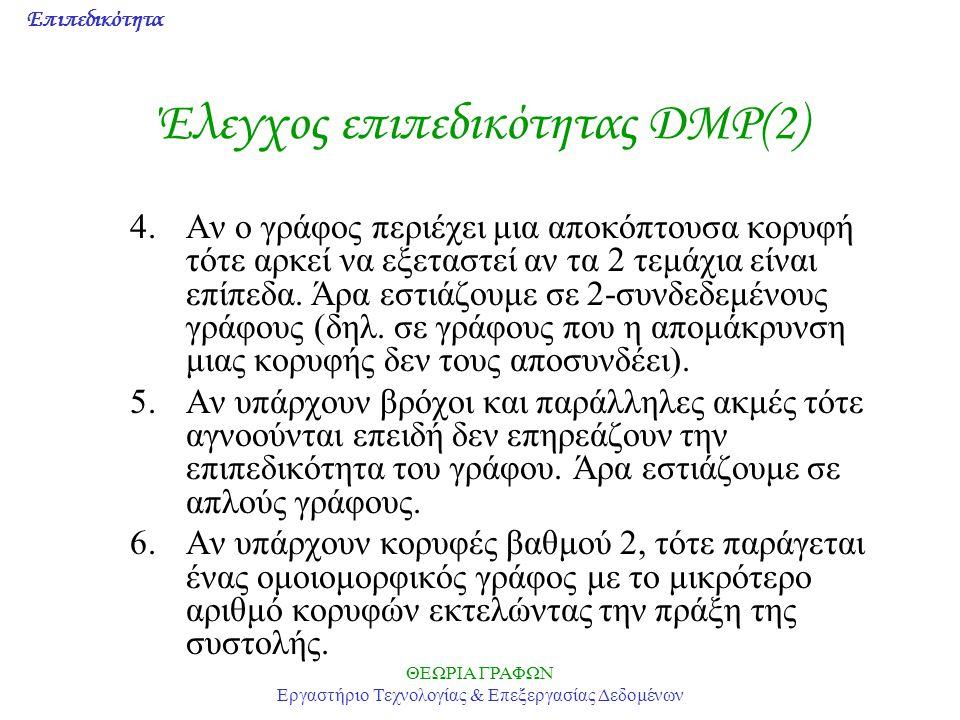 Επιπεδικότητα ΘΕΩΡΙΑ ΓΡΑΦΩΝ Εργαστήριο Τεχνολογίας & Επεξεργασίας Δεδομένων Έλεγχος επιπεδικότητας DMP(2) 4.Αν ο γράφος περιέχει μια αποκόπτουσα κορυφ