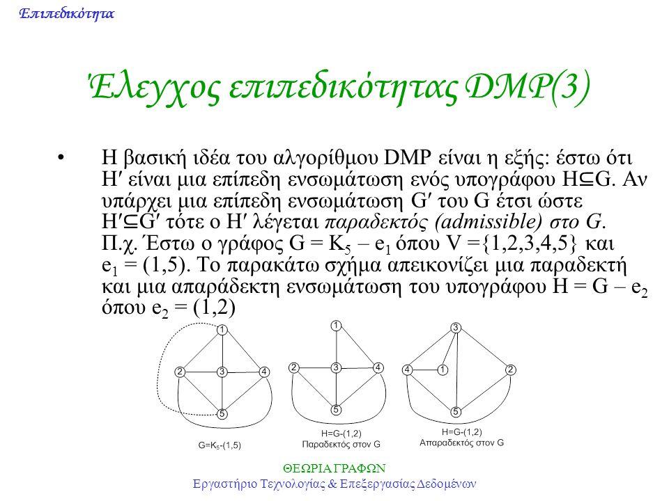 Επιπεδικότητα ΘΕΩΡΙΑ ΓΡΑΦΩΝ Εργαστήριο Τεχνολογίας & Επεξεργασίας Δεδομένων Έλεγχος επιπεδικότητας DMP(3) Η βασική ιδέα του αλγορίθμου DMP είναι η εξή