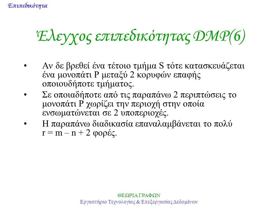 Επιπεδικότητα ΘΕΩΡΙΑ ΓΡΑΦΩΝ Εργαστήριο Τεχνολογίας & Επεξεργασίας Δεδομένων Έλεγχος επιπεδικότητας DMP(6) Αν δε βρεθεί ένα τέτοιο τμήμα S τότε κατασκε