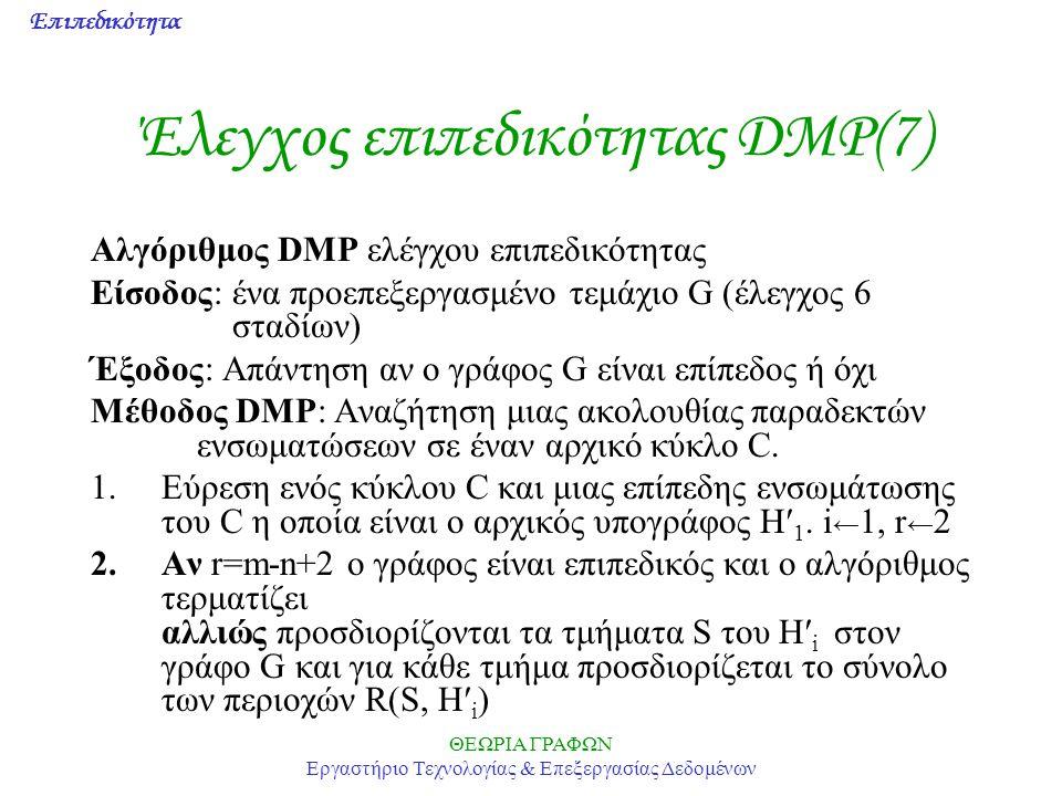 Επιπεδικότητα ΘΕΩΡΙΑ ΓΡΑΦΩΝ Εργαστήριο Τεχνολογίας & Επεξεργασίας Δεδομένων Έλεγχος επιπεδικότητας DMP(7) Αλγόριθμος DMP ελέγχου επιπεδικότητας Είσοδο