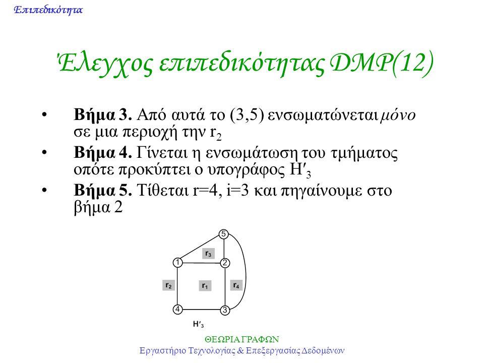 Επιπεδικότητα ΘΕΩΡΙΑ ΓΡΑΦΩΝ Εργαστήριο Τεχνολογίας & Επεξεργασίας Δεδομένων Έλεγχος επιπεδικότητας DMP(12) Βήμα 3. Από αυτά το (3,5) ενσωματώνεται μόν