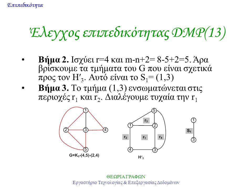 Επιπεδικότητα ΘΕΩΡΙΑ ΓΡΑΦΩΝ Εργαστήριο Τεχνολογίας & Επεξεργασίας Δεδομένων Έλεγχος επιπεδικότητας DMP(13) Βήμα 2. Ισχύει r=4 και m-n+2= 8-5+2=5. Άρα