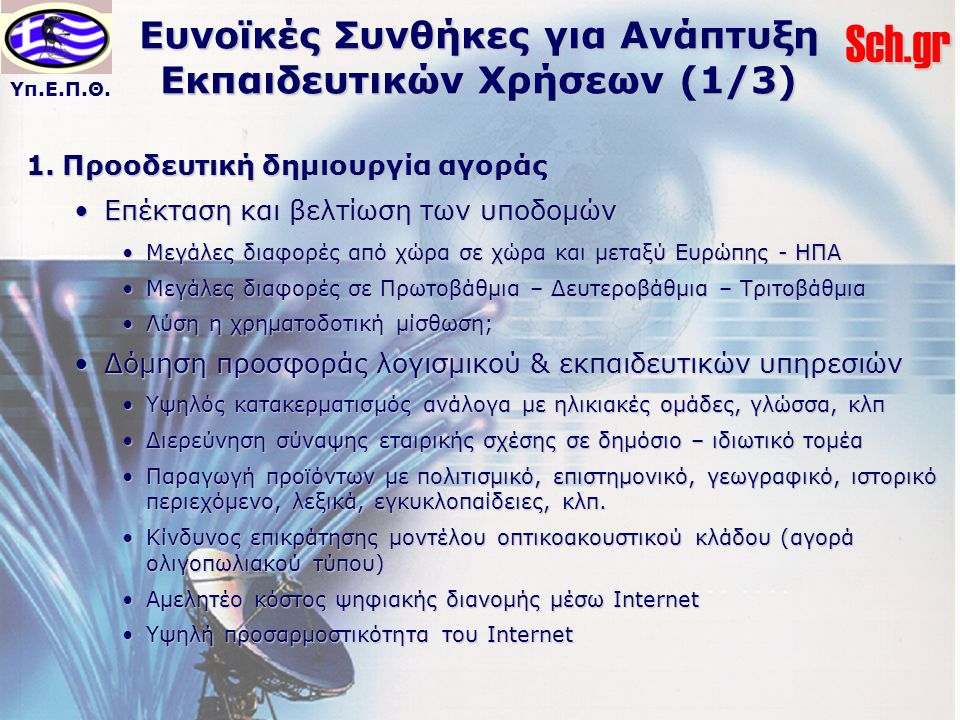 Υπ.Ε.Π.Θ.Sch.gr Ευνοϊκές Συνθήκες για Ανάπτυξη Εκπαιδευτικών Χρήσεων (1/3) 1.Προοδευτική δημιουργία αγοράς Επέκταση και βελτίωση των υποδομώνΕπέκταση και βελτίωση των υποδομών Μεγάλες διαφορές από χώρα σε χώρα και μεταξύ Ευρώπης - ΗΠΑΜεγάλες διαφορές από χώρα σε χώρα και μεταξύ Ευρώπης - ΗΠΑ Μεγάλες διαφορές σε Πρωτοβάθμια – Δευτεροβάθμια – ΤριτοβάθμιαΜεγάλες διαφορές σε Πρωτοβάθμια – Δευτεροβάθμια – Τριτοβάθμια Λύση η χρηματοδοτική μίσθωση;Λύση η χρηματοδοτική μίσθωση; Δόμηση προσφοράς λογισμικού & εκπαιδευτικών υπηρεσιώνΔόμηση προσφοράς λογισμικού & εκπαιδευτικών υπηρεσιών Υψηλός κατακερματισμός ανάλογα με ηλικιακές ομάδες, γλώσσα, κλπΥψηλός κατακερματισμός ανάλογα με ηλικιακές ομάδες, γλώσσα, κλπ Διερεύνηση σύναψης εταιρικής σχέσης σε δημόσιο – ιδιωτικό τομέαΔιερεύνηση σύναψης εταιρικής σχέσης σε δημόσιο – ιδιωτικό τομέα Παραγωγή προϊόντων με πολιτισμικό, επιστημονικό, γεωγραφικό, ιστορικό περιεχόμενο, λεξικά, εγκυκλοπαίδειες, κλπ.Παραγωγή προϊόντων με πολιτισμικό, επιστημονικό, γεωγραφικό, ιστορικό περιεχόμενο, λεξικά, εγκυκλοπαίδειες, κλπ.