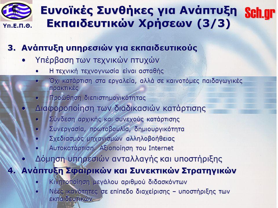 Υπ.Ε.Π.Θ.Sch.gr Ευνοϊκές Συνθήκες για Ανάπτυξη Εκπαιδευτικών Χρήσεων (3/3) 3.Ανάπτυξη υπηρεσιών για εκπαιδευτικούς Υπέρβαση των τεχνικών πτυχώνΥπέρβαση των τεχνικών πτυχών Η τεχνική τεχνογνωσία είναι ασταθήςΗ τεχνική τεχνογνωσία είναι ασταθής Όχι κατάρτιση στα εργαλεία, αλλά σε καινοτόμες παιδαγωγικές πρακτικέςΌχι κατάρτιση στα εργαλεία, αλλά σε καινοτόμες παιδαγωγικές πρακτικές Προώθηση διεπιστημονικότηταςΠροώθηση διεπιστημονικότητας Διαφοροποίηση των διαδικασιών κατάρτισηςΔιαφοροποίηση των διαδικασιών κατάρτισης Σύνδεση αρχικής και συνεχούς κατάρτισηςΣύνδεση αρχικής και συνεχούς κατάρτισης Συνεργασία, πρωτοβουλία, δημιουργικότηταΣυνεργασία, πρωτοβουλία, δημιουργικότητα Σχεδιασμός μηχανισμών αλληλοβοήθειαςΣχεδιασμός μηχανισμών αλληλοβοήθειας Αυτοκατάρτιση.