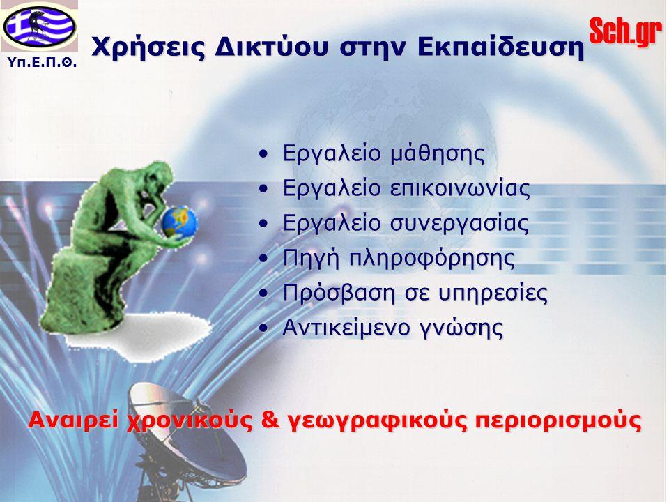 Υπ.Ε.Π.Θ.Sch.gr Χρήσεις Δικτύου στην Εκπαίδευση Εργαλείο μάθησηςΕργαλείο μάθησης Εργαλείο επικοινωνίαςΕργαλείο επικοινωνίας Εργαλείο συνεργασίαςΕργαλε