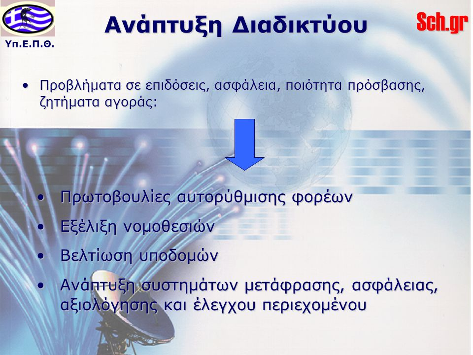 Υπ.Ε.Π.Θ.Sch.gr Ανάπτυξη Διαδικτύου Προβλήματα σε επιδόσεις, ασφάλεια, ποιότητα πρόσβασης, ζητήματα αγοράς:Προβλήματα σε επιδόσεις, ασφάλεια, ποιότητα πρόσβασης, ζητήματα αγοράς: Πρωτοβουλίες αυτορύθμισης φορέωνΠρωτοβουλίες αυτορύθμισης φορέων Εξέλιξη νομοθεσιώνΕξέλιξη νομοθεσιών Βελτίωση υποδομώνΒελτίωση υποδομών Ανάπτυξη συστημάτων μετάφρασης, ασφάλειας, αξιολόγησης και έλεγχου περιεχομένουΑνάπτυξη συστημάτων μετάφρασης, ασφάλειας, αξιολόγησης και έλεγχου περιεχομένου