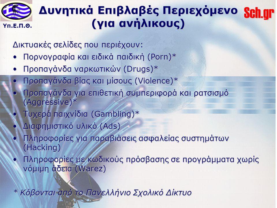 Υπ.Ε.Π.Θ.Sch.gr Δυνητικά Επιβλαβές Περιεχόμενο (για ανήλικους) Δικτυακές σελίδες που περιέχουν: Πορνογραφία και ειδικά παιδική (Porn)*Πορνογραφία και ειδικά παιδική (Porn)* Προπαγάνδα ναρκωτικών (Drugs)*Προπαγάνδα ναρκωτικών (Drugs)* Προπαγάνδα βίας και μίσους (Violence)*Προπαγάνδα βίας και μίσους (Violence)* Προπαγάνδα για επιθετική συμπεριφορά και ρατσισμό (Aggressive)*Προπαγάνδα για επιθετική συμπεριφορά και ρατσισμό (Aggressive)* Τυχερά παιχνίδια (Gambling)*Τυχερά παιχνίδια (Gambling)* Διαφημιστικό υλικό (Ads)Διαφημιστικό υλικό (Ads) Πληροφορίες για παραβιάσεις ασφαλείας συστημάτων (Hacking)Πληροφορίες για παραβιάσεις ασφαλείας συστημάτων (Hacking) Πληροφορίες με κωδικούς πρόσβασης σε προγράμματα χωρίς νόμιμη άδεια (Warez)Πληροφορίες με κωδικούς πρόσβασης σε προγράμματα χωρίς νόμιμη άδεια (Warez) * Κόβονται από το Πανελλήνιο Σχολικό Δίκτυο