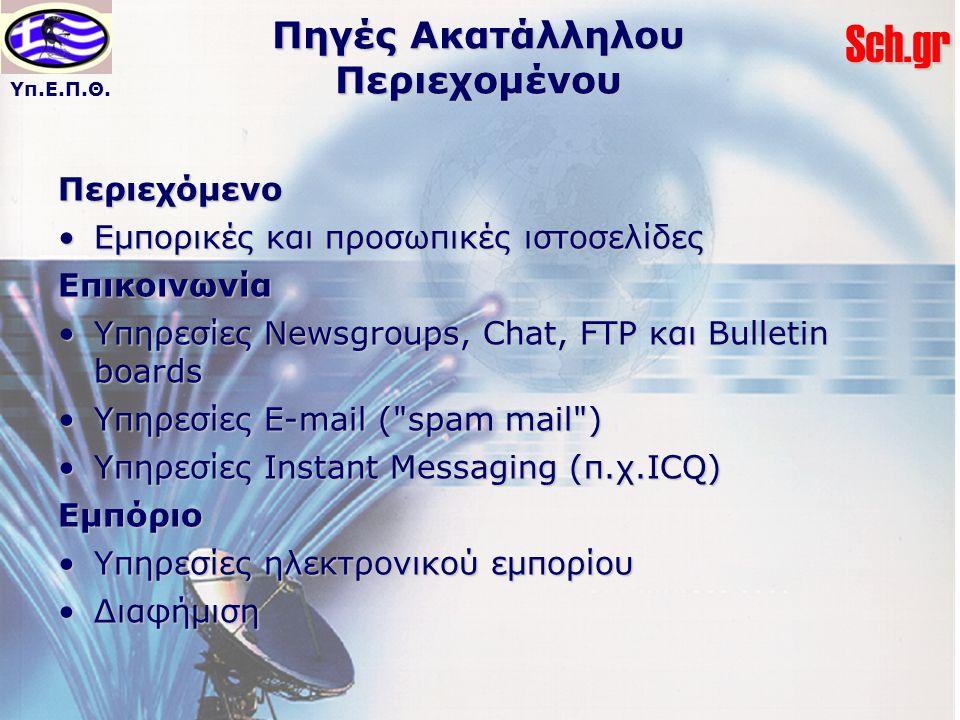 Υπ.Ε.Π.Θ.Sch.gr Πηγές Ακατάλληλου Περιεχομένου Περιεχόμενο Εμπορικές και προσωπικές ιστοσελίδεςΕμπορικές και προσωπικές ιστοσελίδεςΕπικοινωνία Υπηρεσίες Newsgroups, Chat, FTP και Bulletin boardsΥπηρεσίες Newsgroups, Chat, FTP και Bulletin boards Υπηρεσίες E-mail ( spam mail )Υπηρεσίες E-mail ( spam mail ) Υπηρεσίες Instant Messaging (π.χ.ICQ)Υπηρεσίες Instant Messaging (π.χ.ICQ)Εμπόριο Υπηρεσίες ηλεκτρονικού εμπορίουΥπηρεσίες ηλεκτρονικού εμπορίου ΔιαφήμισηΔιαφήμιση